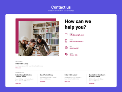 Contact us branches ui ux design ui challenge ui ux