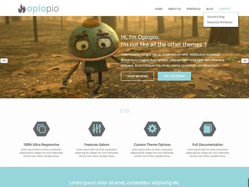 Opiopio HTML5 Theme Template theme template wordpress video landing landing page ux ui free psd web