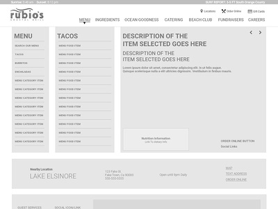 Rubio's web redesign Wire Frame (menu page) menu web experience ui ux wire wires wire frame
