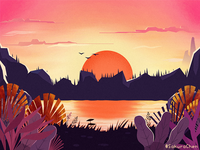 Spring twilight illustration