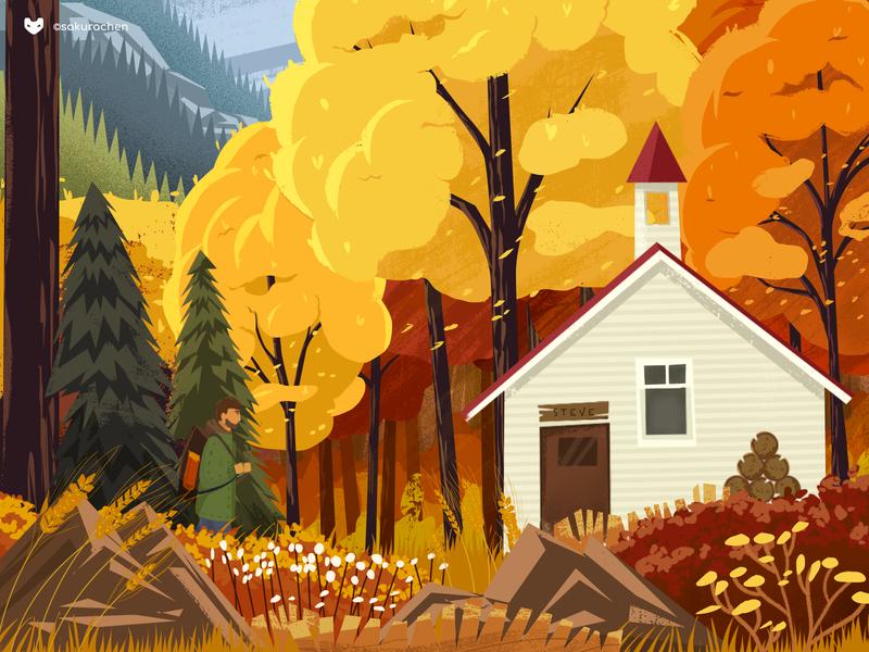 Autumn Forest Cabin autumn silent paint design innn forest illustration