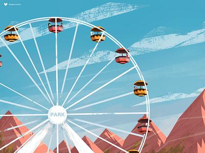 Summer Ferris Wheel design paint ferris wheel summer ui illustration