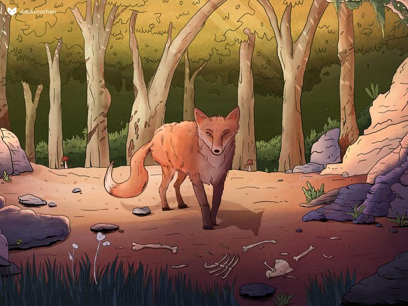 Fox paint forest innn illustration