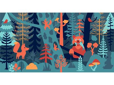 sketch mural mural animals forest illustration