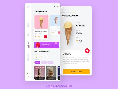S'Cream App clean daily ui app vector branding designs icon illustration custom topping application mobile ice pop ice cream cone icecream gelato uidesign uiux design ui
