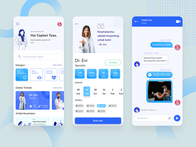 Consultation Doctor App uidesign user interface clean design blue healthcare 2020 ux search physician online medicine mobile ios illustration design category app chat ui