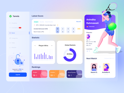 Biography Tennis Dashboard glass athlete table tennis digital illustration design sport dashboard design chart icon web interface dashboard ui design uiux ux illustration tennis dashboard ui