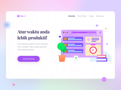 Time Management - Hero Section purple time management typography landing page section hero section figma illustration design web webdesign illustration clean design uiux design ui