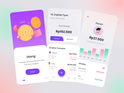 Utang - 3D Mobile Application 3d design 3d redesign playstore webdesign ux payments utang purple coin figma mobile uidesigns clean clean design uiux design ui