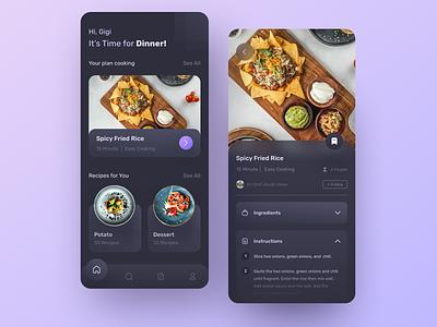 🍳🥘 Dark Mode -  Food Recipes cuisine foodie cook chef apps recipes cooking food uidesign ui design clean mobile uiux darkmode dark ui ux dark theme figma neumorphism