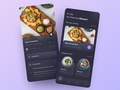 🍳🥘 Dark Mode -  Food Recipes cuisine foodie cook chef apps recipes cooking food uidesign ui design clean mobile uiux darkmode dark ui ux dark theme figma neumorphism