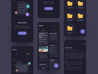 📝 Notes App - Dark Mode daily ui folder dark theme notes app reminder note notes dark dark mode app mobile figma uidesign ux clean ui