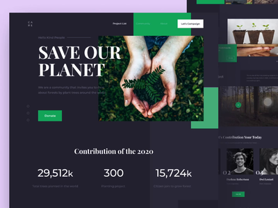 Forest Care - Landing Page uiux planet figma dark ui ux website animation landing landing page tree save tree protopie web design minimalism dark mode dark clean design uidesign design ui