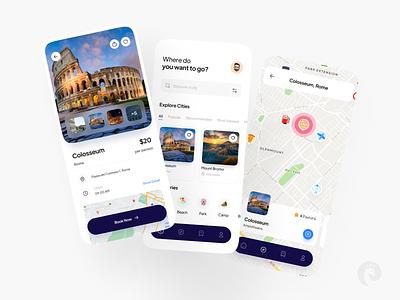 Loka Travel App explore city map app innovation travel glassmorphism minimalism mobile vacation tourism trip figma clean design ui ux