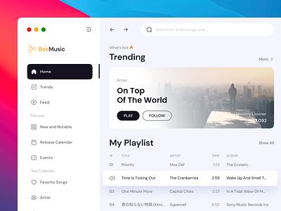 Bee Music - 🎵 Music Media Player Dashboard play album radio minimalism playlist dashboard media music streaming podcast joox apple song clean design ui ux spotify netflix web
