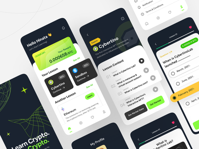 Learn Crypto, Earn Crypto - OctoCoin money learn earn crypto app design clean design uiux figma dark mode online course course learning quiz investment lesson exercise reward cryptocurrency mobile