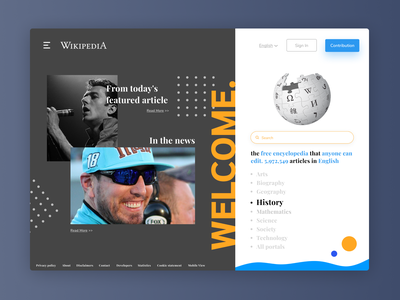 Wikipedia Redesign branding illustration black white uicool uplabs uidesign uiux ux clean design clean ui design uidesigns ui design mockup redesign wikipedia
