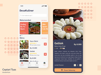 DesaKuliner UI Design traditional kulonprogo jogjakarta uiux clean topic discovery ordering payments payout purchase userinterface userexperience ux food app ui price payment order food