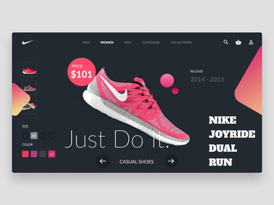 Nike Store dark ui webdesign uidesign shop shoe nike ecommerce color buy productdesign graphicdesign