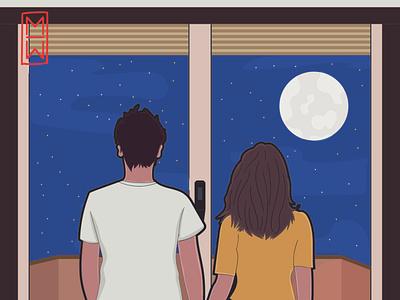 Stay_home artist art stars sky night quarantine ilustration