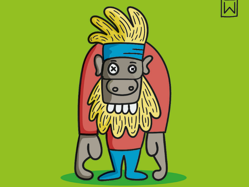 Monkey.Bussiness jungle ilustration color fun cartoon monkey