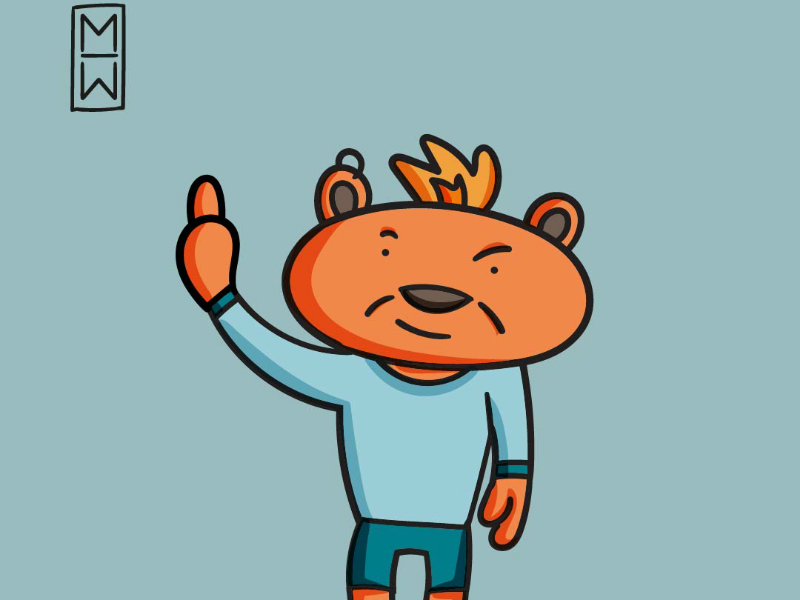 Jack.the Teddy bear work cool funky funny character ilustrations cartoon