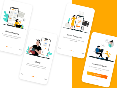 Sahyogi B2B Retailer App Onboarding Screens onboarding screen colors uxdesign walkthrough uidesign uiux