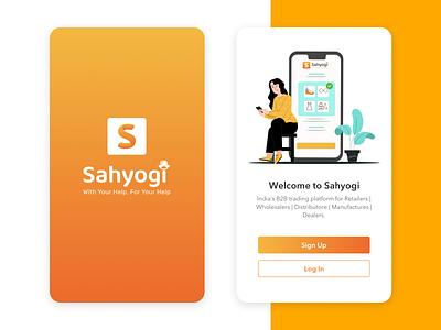 Sahyogi Splash & Getsarted Screens getstarted screen getstarted screen splash screen mobile app sketch app illustration colors uiuxdesign uidesign uiux