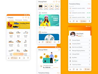 Sahyogi Main Features Screens icons illustrator casestudy mobile app ux desgin uidesign