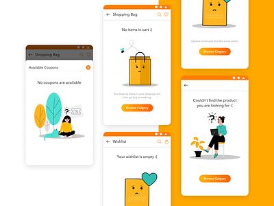 Sahyogi Error Screen Screens error message empty bag empty bag mobile app colors icons illustraion uiuxdesign uidesign uiux