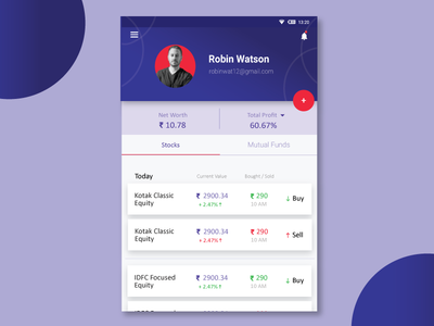 Profile Timeline for Investment UI mobile screen Design