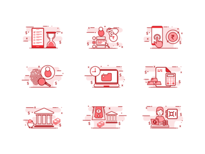 Illustrated Icons Design for Banking & Finance Sector