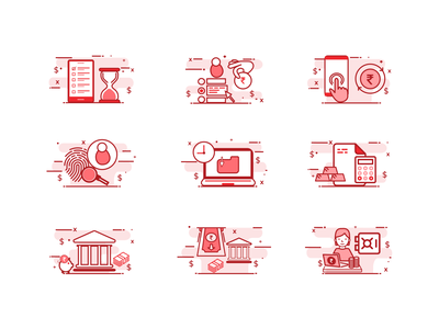 Illustrated Icons Design for Banking & Finance Sector simple figma illustration vector icon design app