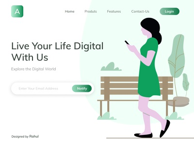 Digital World- Landing Page colors illustration figma landing page above the fold mobile digital world