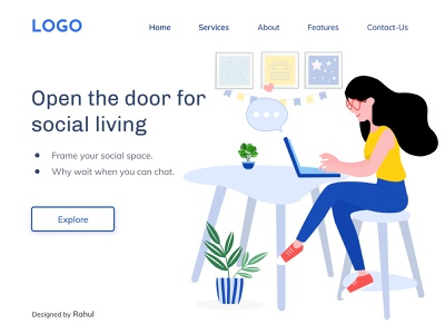 Social Media - Landing Page ui web colors above the fold uiux uidesign illustration figma
