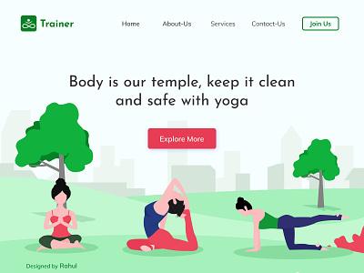 Yoga & Meditation Landing Page colors meditation yoga uiuxdesign landingpage website illustrator