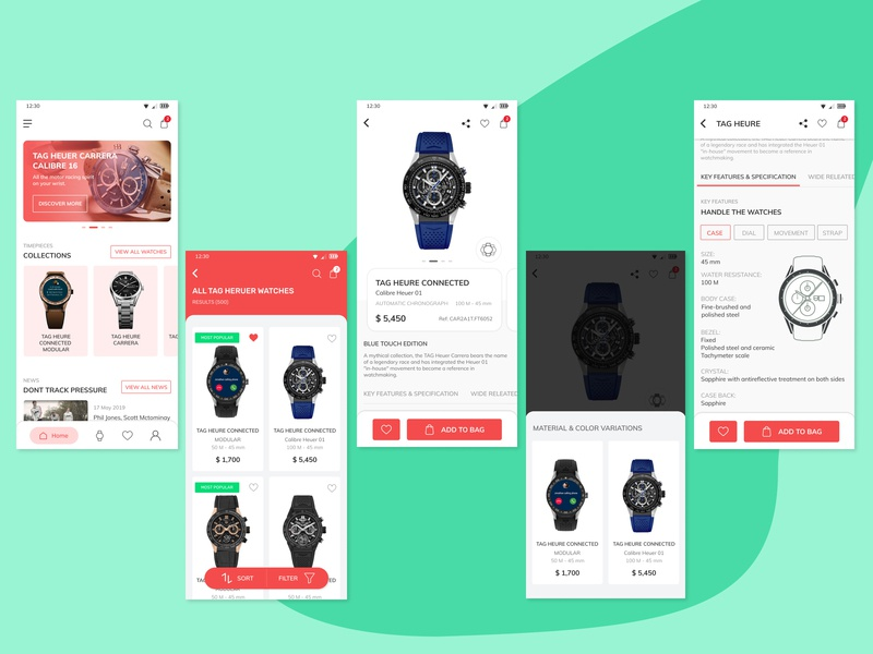 TAG HEUER Product listing & detail page figma product designs product page uiuxdesign watches watch app ui mobile ui design ios app