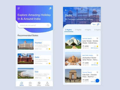 Travel / Holiday App travelling travel agency holiday package mobile uiuxdesign uidesign figma holiday app travel app