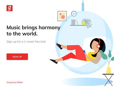 Music Landing Page Design figma uidesign uiux gaana web music