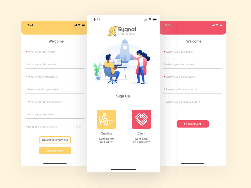 Daily UI 001 - Sign Up process signup sign up daily ui dailyui flat icon ux ui design app