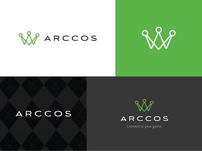 Arccos Style Tile branding argyle green identity logo crown