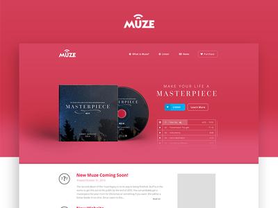 Muze - Landing Page web music ui ux design