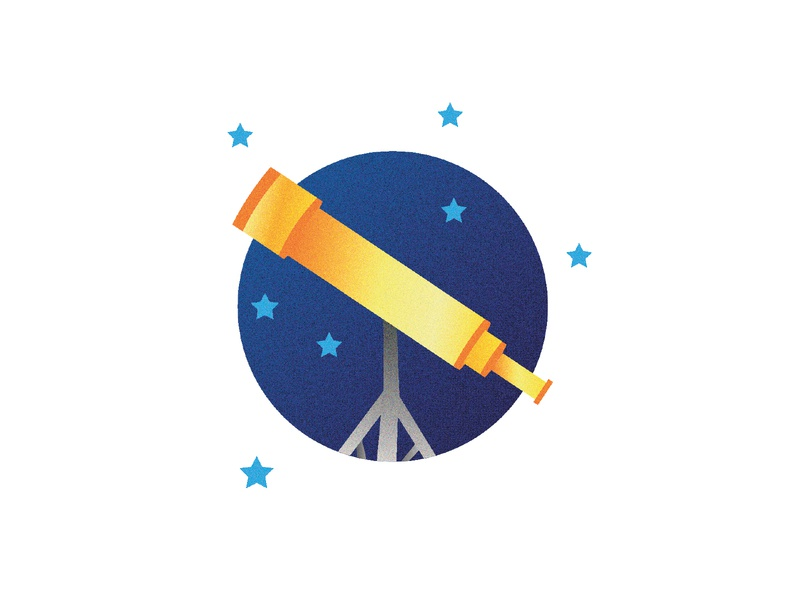 Telescope Illustration design icon colorful vector stars illustrator illustration science space telescope
