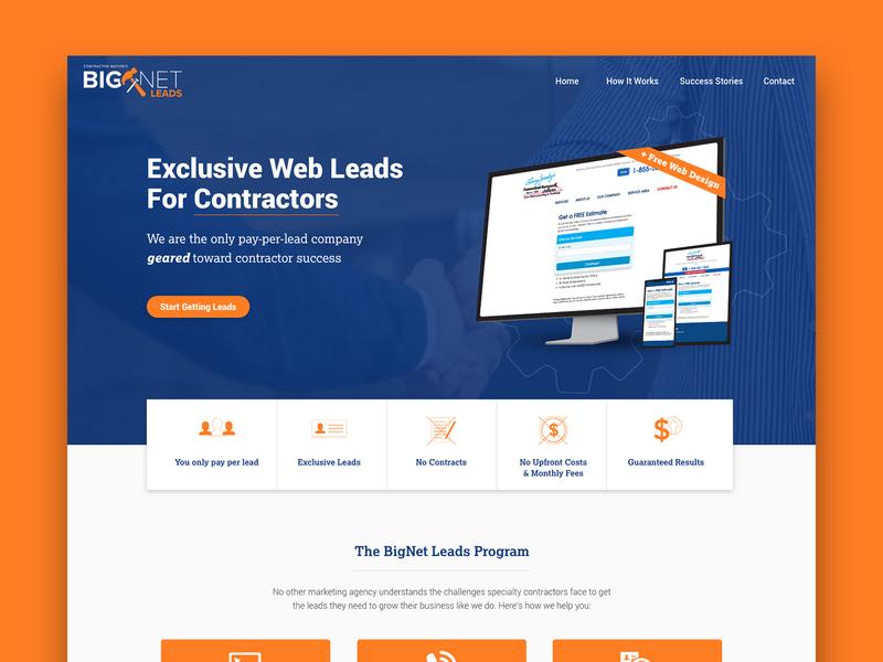 BigNet Leads Website icons webdesign orange hero homepage website leads contractor