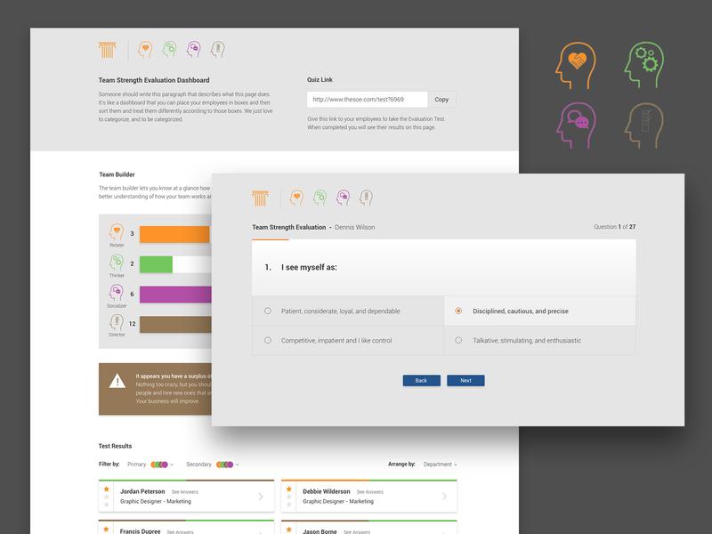 Team Strength Assessment Quiz / Dashboard product web design ui dashboard quiz personality team