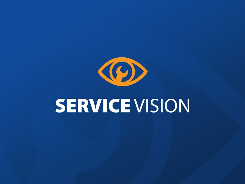 Logo - Service Vision eye wrench web flat illustration vector icon colorful branding typography design logo contractor