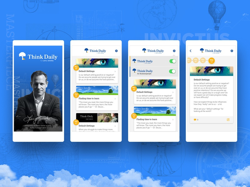 App Design - Think Daily Motivation landing contractor logo web design motivational think daily application icon colorful ui design app dashboard app
