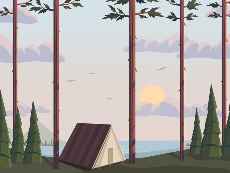 Landscape design colorful vector web landing page landscape illustration