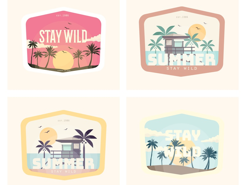 Badge vector sunset landing page palmtree retro landscape design illustration colorful