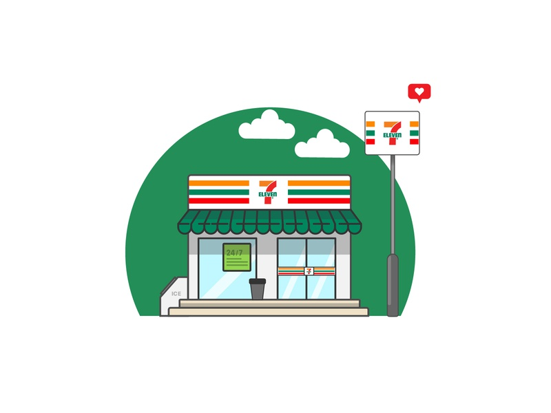 7Eleven stroke illustration 7eleven illustraion